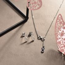 conjunto de collar y aretes en acero inoxidable -SSCSG126-15022