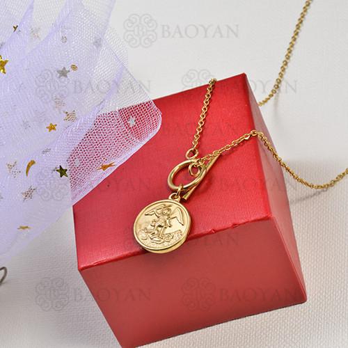 collar de charms moneda en acero inoxidable -SSNEG142-16228