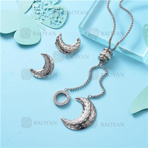 Conjunto de Collar y Aretes en Acero Inoxidable -SSNEG126-10105