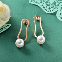 Aretes de Perla Imitacion en Acero Inoxidable -SSEGG143-9117