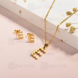 conjunto de collar y aretes en acero inoxidable -SSCSG143-15334