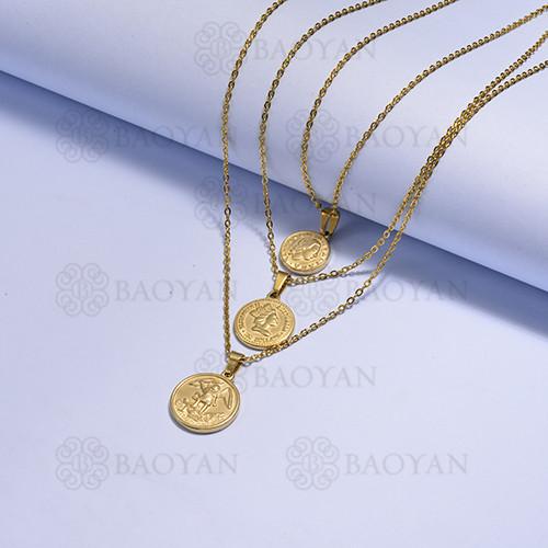 collares multi capa de Acero Inoxidable medalla para Mujer -SSNEG171-14727