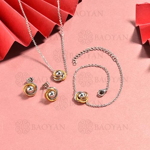 conjunto de collar y aretes en acero inoxidable -SSBNG126-15056