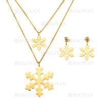 juego collar y aretes de copo nieve en acero dorado inoxidable para mujer -SSNEG183959