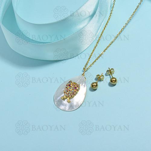 conjunto de collar de bronce y concha -SSCSG107-15848
