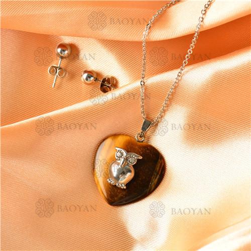 Collar con Aretes con Piedra Natural en Acero Inoxidable -SSNEG143-9501