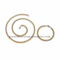 juego collar y brazalete de estilo simple dorado mezcla plateado  en acero inoxidable para hombre -SSNEG462665