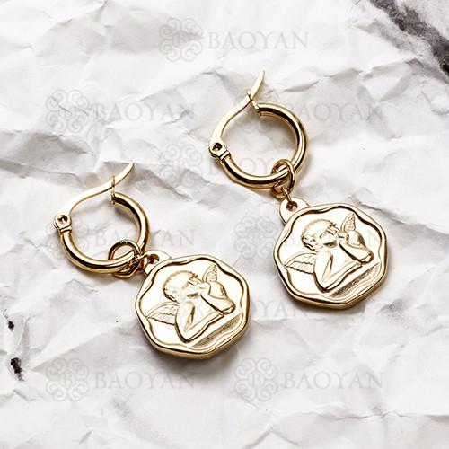 pendientes de Acero Inoxidable medalla para Mujer -SSEGG142-14714