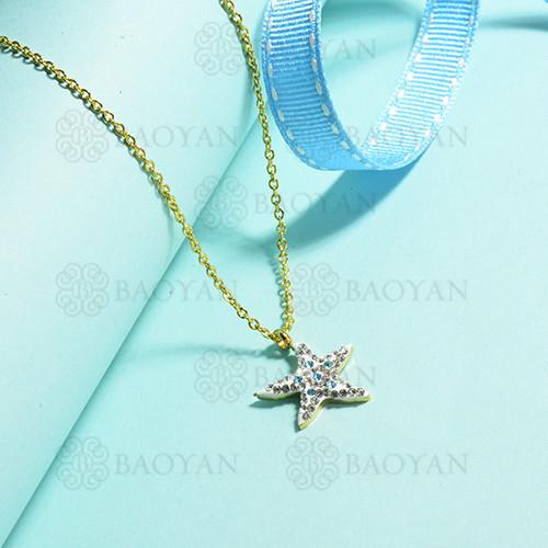 collares de acero inoxidable para mujer -SSNEG143-15383-G