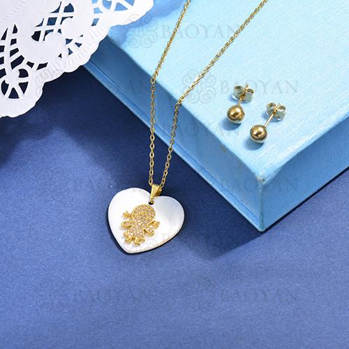 conjunto de collar de bronce y concha -SSCSG107-15867