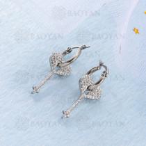 Aretes Cristal Ojo Malos en Acero Inoxidable -SSEGG143-9568
