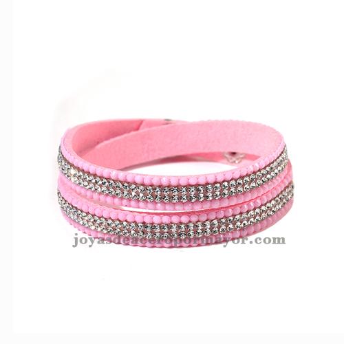 pulseras en cuero con cristal color rosa para chicas