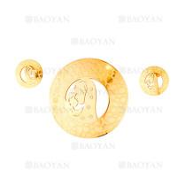 juego colgante y aretes de santa maria dentro circulos en acero dorado inoxidable - SSSTG184143