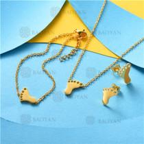 Conjunto de Pulsera Collar y Aretes en Acero Inoxidable -SSNEG126-10504