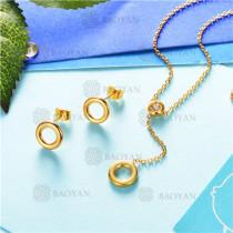 conjunto de joyas acero dorado inoxidable -SSNEG126-9591
