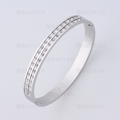 pulsera sencilla con cristal en acero de plateado para mujer -SSBTG1225262