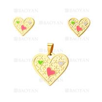 juego dije y aretes de corazon de dorado en acero-SSSTG384427
