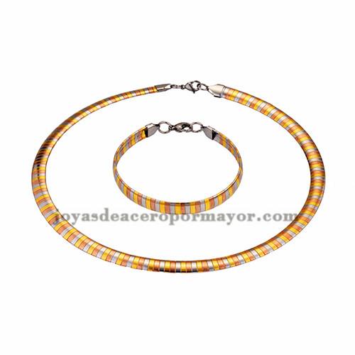 gargantilla y brazalete ancho 8mm tres color en acero inoxidable -SSNEG462690