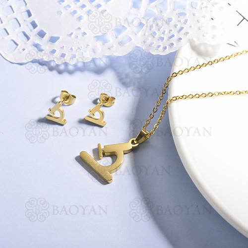 conjunto de collar y aretes en acero inoxidable -SSCSG143-15363