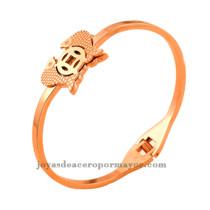 Mariposa pulsera de joyas de moda en acero inoxitable