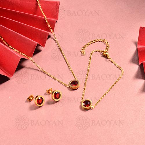 conjunto de collar y aretes en acero inoxidable -SSBNG126-15043