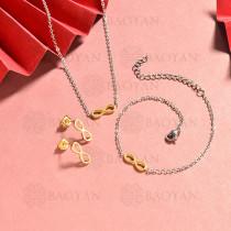 conjunto de collar y aretes en acero inoxidable -SSBNG126-15066