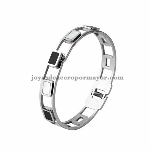 pulsera con perla de plateado en acero inoxidable para mujer-SSBTG403755