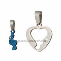 dijes de corazon en acero inoxidable de plateado y azul para pareja-SSPTG971000