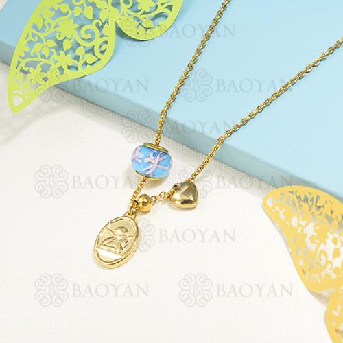collar de charms en acero inoxidable -SSNEG142-16216