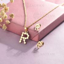 conjunto de collar y aretes en acero inoxidable -SSCSG143-15349