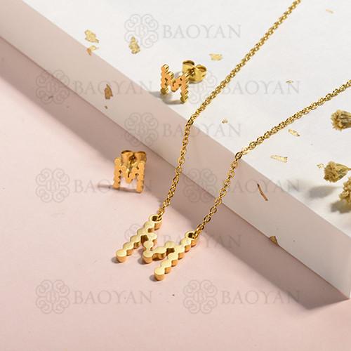conjunto de collar y aretes en acero inoxidable -SSCSG143-15340