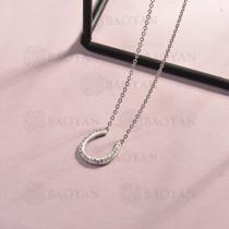 collar de acero inoxidable para mujer -SSNEG143-14808-S