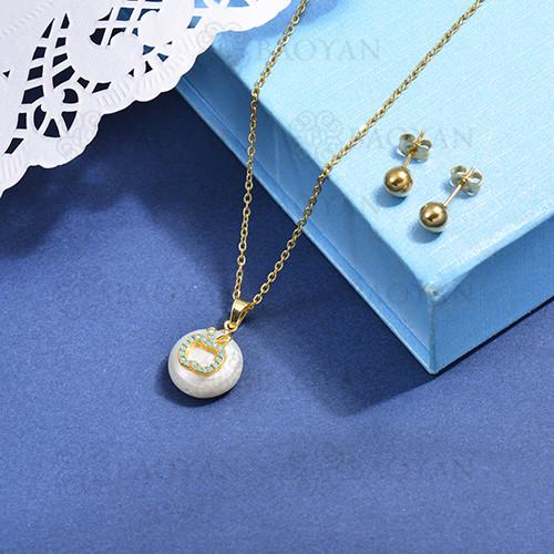 conjunto de collar de bronce y concha -SSCSG107-15866