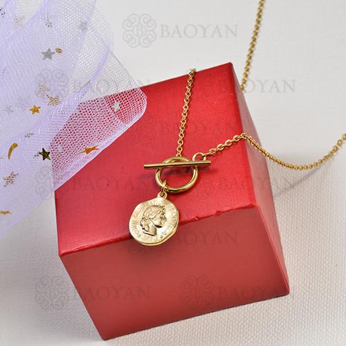 collar de charms moneda en acero inoxidable -SSNEG142-16226