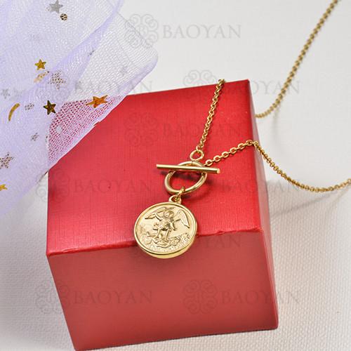 collar de charms moneda en acero inoxidable -SSNEG142-16231