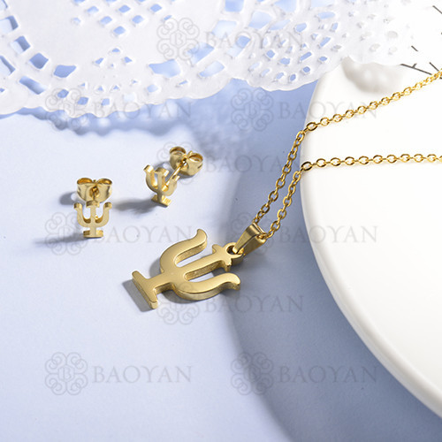 conjunto de collar y aretes en acero inoxidable -SSCSG143-15366