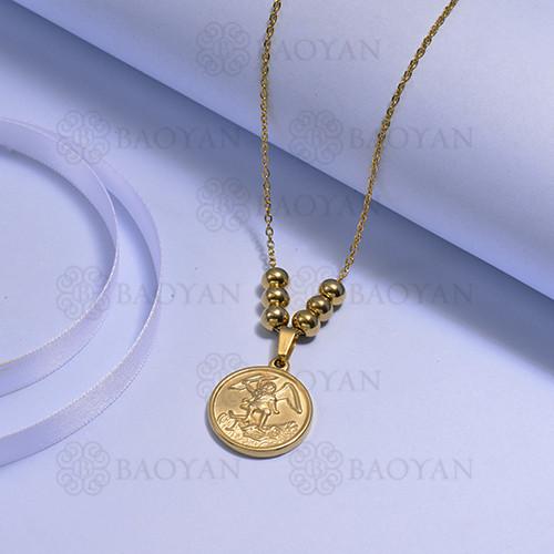 collares de Acero Inoxidable medalla para Mujer -SSNEG171-14724