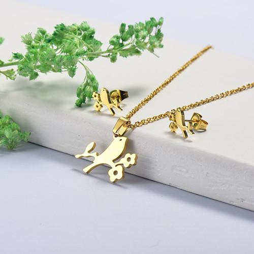 Conjunto de Collar y Aretes en acero inoxidable -SSCSG26-16887