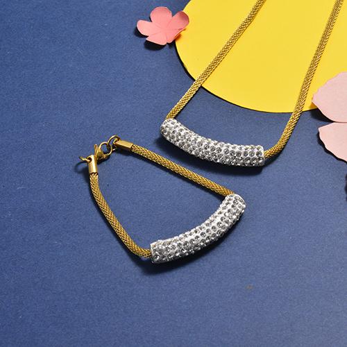 Conjunto de Collar y Pulsera en acero inoxidable -SSNBG147-16745