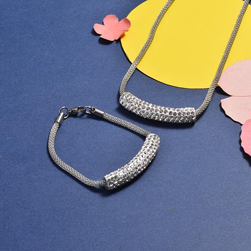Conjunto de Collar y Pulsera en acero inoxidable -SSNBG147-16744