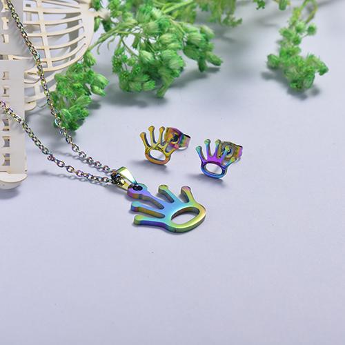 Conjunto de Collar y Aretes en acero inoxidable -SSCSG26-16880