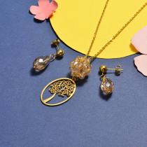 Conjunto de Collar y Aretes en acero inoxidable -SSCSG18-16811