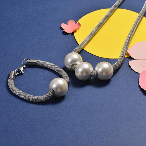 Conjunto de Collar y Pulsera en acero inoxidable -SSNB147-16741