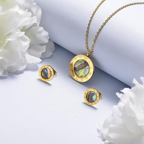 Conjunto de Collares y Aretes en Dorado 18k -SSCSG143-17111-G