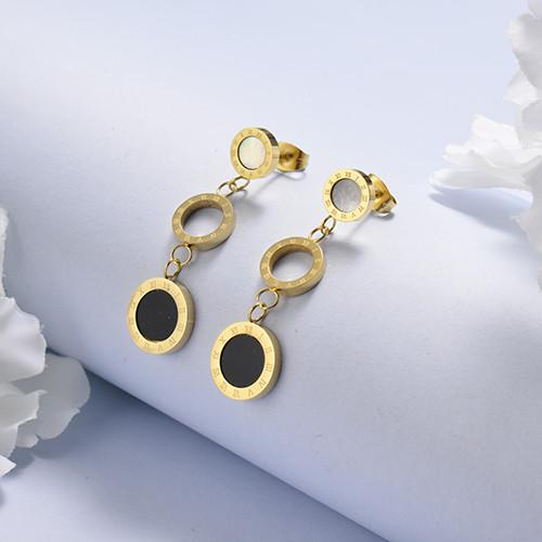 Aretes de 18K Dorado Acero Inoxidable -SSEGG143-17114-G