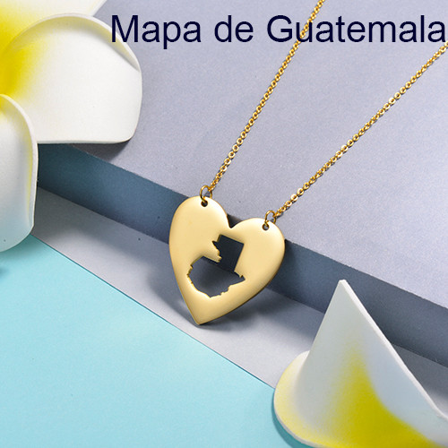 Collares de Corazon de Mapa -SSNEG143-16077-G
