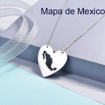 Collares de Corazon de Mapa -SSNEG143-16086-S