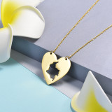 Collares de Corazon de Mapa -SSNEG143-16080-G