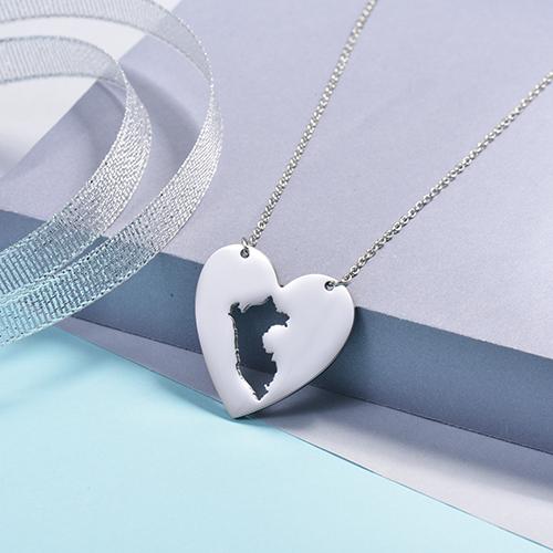 Collares de Corazon de Mapa -SSNEG143-16078-S