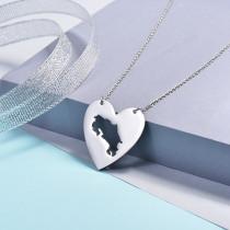Collares de Corazon de Mapa -SSNEG143-16083-S
